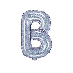 balon foliowy litera B holo 35cm na przyjęcie na urodziny balony z helem poznań