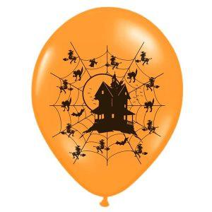 """Balon lateksowy 14"""" w pajęczyny z domem pomarańczowo-czarny na halloween strachy nawiedzony dom balony z helem poznań"""
