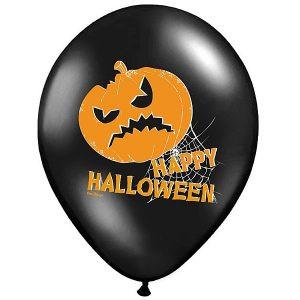 """Balon lateksowy 14"""" happy halloween straszna dynia czarno-pomarańczowy strachy balony z helem poznań"""