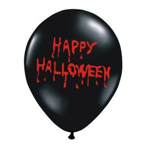 """Balon lateksowy 14"""" czarny z napisem Happy Halloween na przyjęcie balony z helem poznań"""