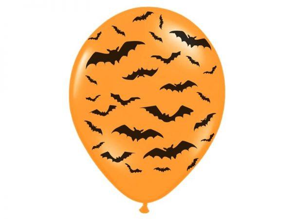 """Balon lateksowy 14"""" w nietoperze pomarańczowo-czarny halloween gotham city strachy balony z helem poznań"""