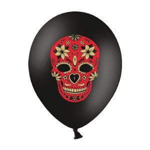 """Balon lateksowy 14"""" czarny z czaszką meksykańską na przyjęcie halloween balony z helem poznań"""