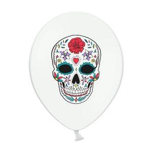 """Balon lateksowy 14"""" biały z czaszką meksykańską na przyjęcie halloween balony z helem poznań"""