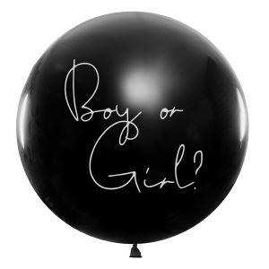 Balon lateksowy olbrzym niespodzianka boy or girl z konfetti gender reveal party ujawnienie płci dziecka baby shower balony z helem poznań