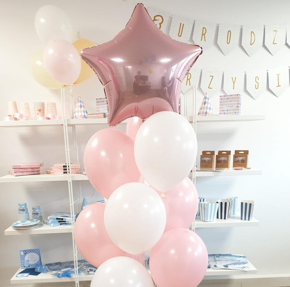 Bukiet balonów dla dziewczynki dla dziecka na roczek na baby shower różowa gwiazdka pudrowe balony gwiazda balony z helem Poznań