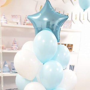 Bukiet balonów dla chłopca dla dziecka na roczek na baby shower niebieska gwiazdka pudrowe balony balon gwiazda balony z helem Poznań