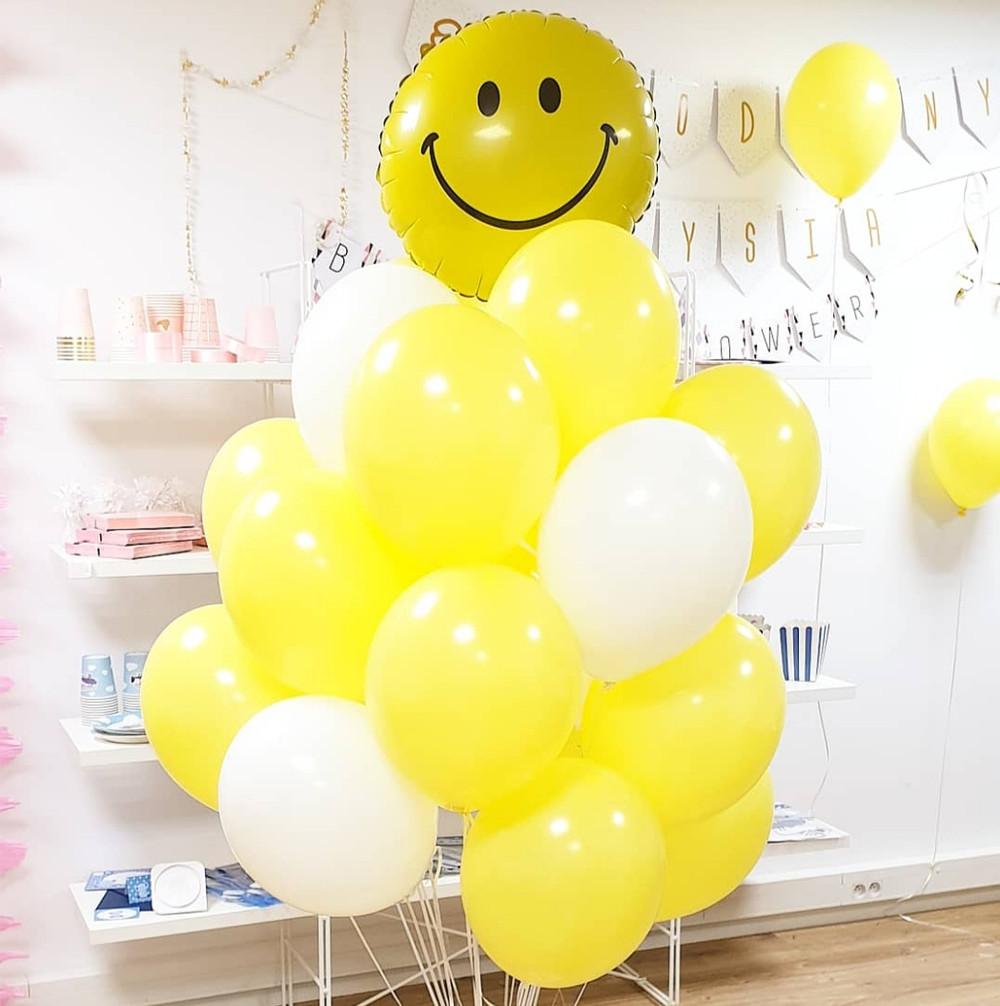 Wesoły bukiet balon smile balony żółte uśmiech balon zamiast kwiatów balony z helem Poznań