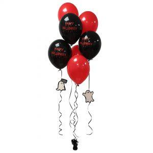 bukiet balonowy na halloween czarno-czerwony happy halloween z duszkami z czarnym obciążnikiem foliowy ciężarek czarny balony lateksowe balony z helem Poznań