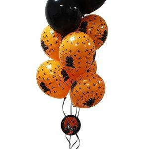 Bukiet balonowy na halloween czarno-pomarańczowy z cieniem strasznego domu z pajęczyną z zawieszką nawiedzony dom okrągłą balony z helem poznań
