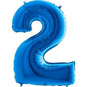 Balon Niebieski Balon Cyfra 2 Grabo Mocny Balon Foliowy Duża Cyfra 2 100cm 42 Cale Balony Z Helem Poznań