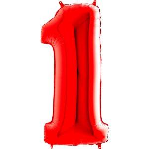 Balon Czerwony Balon Cyfra 1 Grabo Mocny Balon Foliowy Duża Cyfra 1 100cm 42 Cale Balony Z Helem Poznań