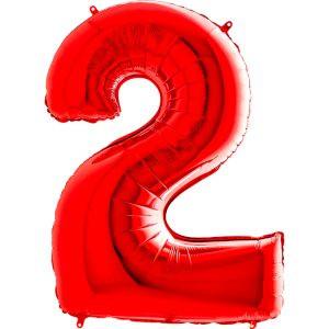 Balon Czerwony Balon Cyfra 2 Grabo Mocny Balon Foliowy Duża Cyfra 2 100cm 42 Cale Balony Z Helem Poznań