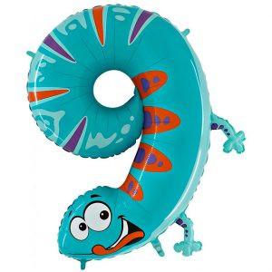 Balon Kameleon Seria Zwierzęta Balon Cyfra 9 Grabo Mocny Balon Foliowy Duża Cyfra 9 100cm 42 Cale Balony Z Helem Poznań