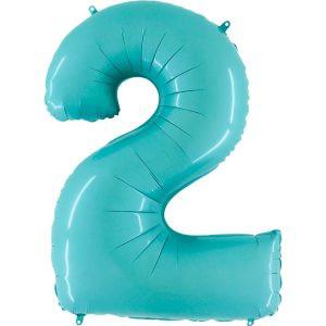 Balon Niebieski Pastelowy Jasno Niebieski Baby Blue Balon Cyfra 2 Grabo Mocny Balon Foliowy Duża Cyfra 2 100cm 42 Cale Balony Z Helem Poznań