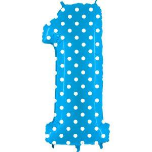 Balon Niebieski W Kropki Baby Blue Białe Kropeczki Balon Cyfra 1 Grabo Mocny Balon Foliowy Duża Cyfra 1 100cm 42 Cale Balony Z Helem Poznań