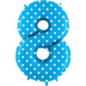 Balon Niebieski W Kropki Baby Blue Białe Kropeczki Balon Cyfra 8 Grabo Mocny Balon Foliowy Duża Cyfra 8 100cm 42 Cale Balony Z Helem Poznań