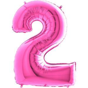 Balon Różowy Balon Cyfra 2 Grabo Mocny Balon Foliowy Duża Cyfra 2 100cm 42 Cale Balony Z Helem Poznań