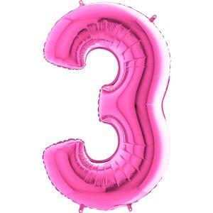 Balon Różowy Balon Cyfra 3 Grabo Mocny Balon Foliowy Duża Cyfra 3 100cm 42 Cale Balony Z Helem Poznań