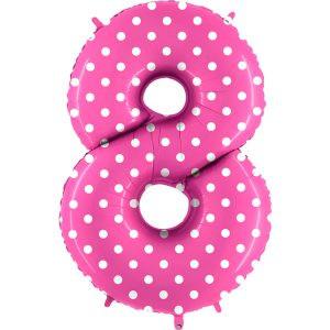 Balon Różowy W Kropki Słodki Róż Białe Kropeczki Balon Cyfra 8 Grabo Mocny Balon Foliowy Duża Cyfra 8 100cm 42 Cale Balony Z Helem Poznań