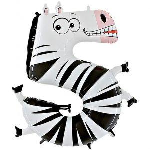 Balon Zebra Seria Zwierzęta Dzikie Zwierzęta Balon Cyfra 5 Grabo Mocny Balon Foliowy Duża Cyfra 5 100cm 40 Cali Balony Z Helem Poznań