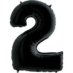 Elegancki Balon Czarny Modny Balon Cyfra 2 Grabo Mocny Balon Foliowy Duża Cyfra 2 100cm 42 Cale Balony Z Helem Poznań