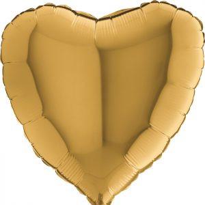 Złote Serce Balon Z Helem Balony Na Hel Lateksowe Serce Balony Z Helem Poznań