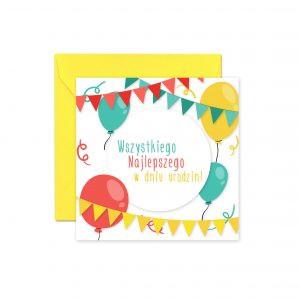 Kolorowe Balony Żółta Koperta Kartka Urodzinowa Kartka Na Urodziny Kartki Urodzinowe Balony Z Helem Poznań