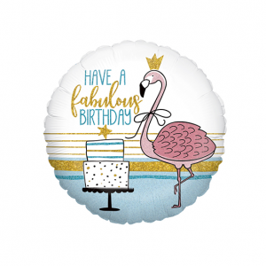 36884 18 Inches Foil Holographic Fabulous Flamingo Birthday Balloons