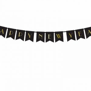 Baner Cxzarny Happy New Year Baner Na Nowy Rok Girlanda Happy New Year Girlanda Noworoczna Balony Z Helem Poznan