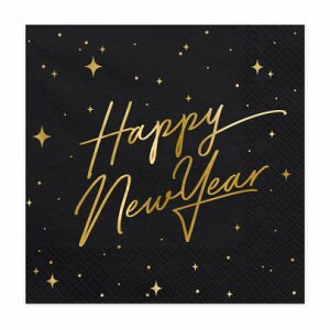 Serwetki Happy New Year Czarne
