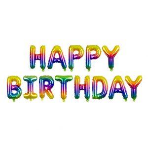 Napis Happy Birthday Kolorowy Napis Napis Happy Birthday Na Tort Balon Napis Balon Tecza Napis Happy Birthday Balony Napis Kolorowy